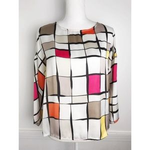 Ellen Tracy • Checkered Blouse / White Pink